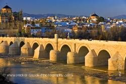 Puente Romano spans the Rio Guadalquivir in City of Cordoba Province of Cordoba Andalusia Spain