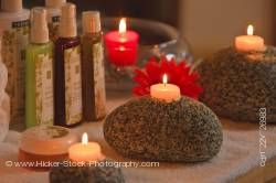 Beauty products candles relaxing atmosphere