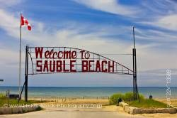 Sauble Beach welcome sign on the shores of Lake Huron Ontario Canada