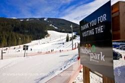 Sign at Coca Cola Tube Park Blackcomb Mountain Whistler British Columbia Canada