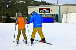 Ski Instructor with Student Whistler Mountain Whistler British Columbia Canada