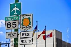 Street signs Route 85 West Yellowhead Highway Winnipeg Manitoba Canada