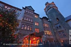 Tower facades buildings windows illuminated Castle Ronneburg