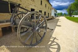 Wagon two wheels Furloft Saleshop at Lower Fort Garry National Historic Site Selkirk Manitoba Canada
