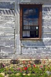 Farm Managers house window at Lower Fort Garry in Selkirk Manitoba Canada