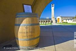 Wine barrel sign entrance Mission Hill Family Estate Winery Kelowna Canada