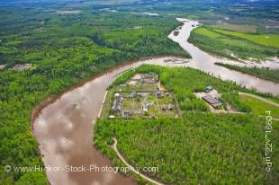 Stock photo aerial view of Fort William Historical Park on the Kaministiquia River in Thunder Bay, Ontario, Canada.