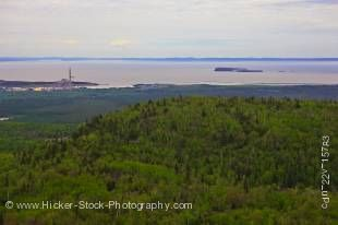 Stock photo aerial view of the landscape near the city of Thunder Bay on the Lake Superior shoreline in Ontario Canada.