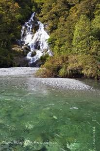 Stock photo of the Fantail Falls in Mt Aspiring National Park, Haast Highway near Haast Pass, West Coast, South Island, New Zealand.