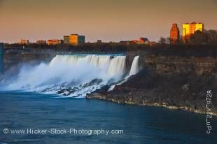 Stock photo of the American Niagara Falls in the state of New York, USA during a golden sunset.