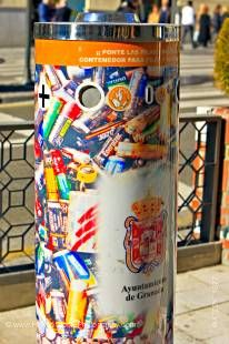Stock photo of battery recycle bin container in the City of Granada, Province of Granada, Andalusia (Andalucia), Spain, Europe.