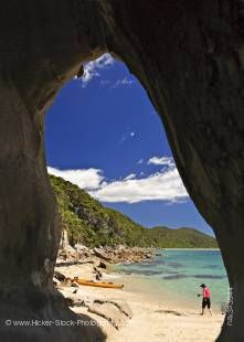Stock photo of a beach scene at Arch Point, Abel Tasman National Park, Tasman District, South Island, New Zealand.