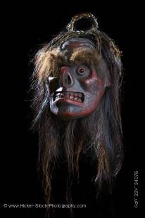 Stock photo of a Native Art Mask featuring the Wildman (Bakwis) by Beau Dick, Kwakwaka'wakw First Nations Artist, original West Coast native art, Just Art Gallery, Port McNeill, Northern Vancouver Island, Vancouver Island, British Columbia, Canada.