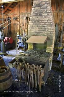 Stock photo of inside the blacksmith shop at the Mennonite Heritage Village in Steinbach, Manitoba, Canada.