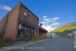 Stock photo of an old brick building dating back to 1896 in the town of Kaslo, Central Kootenay, British Columbia, Canada.