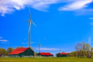 Stock photo of modern windmills and barns on the Bruce Peninsula, Ontario, Canada.