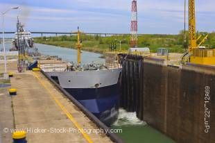 Stock photo of a large bulk carrier ship entering Lock 3 of the Welland Canals System at the St. Catharine's Museum, Welland Canals Centre, Great Lakes-St. Lawrence Seaway, St Catharine's, Ontario, Canada.
