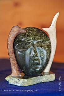 Stock photo of a carving on display at Rifflin' Hitch Lodge, Eagle River, Southern Labrador, Labrador, Newfoundland Labrador, Canada.