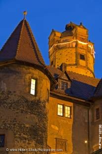Stock photo of towers and architecture of the Burg Ronneburg (Burgmuseum), Ronneburg Castle,  at dusk, Ronneburg, Hessen, Germany, Europe.