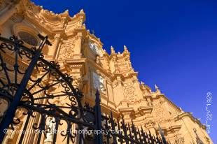 Stock photo of the facade of the Cathedral of Guadix in the town of Guadix, Province of Granada, Andalusia (Andalucia), Spain, Europe.
