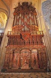 Stock photo of Pipe organ inside the Seville Cathedral and La Giralda (bell tower/minaret), a UNESCO World Heritage Site, Santa Cruz District, City of Sevilla (Seville), Province of Sevilla, Andalusia (Andalucia), Spain, Europe.
