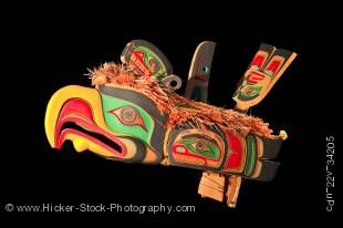 Stock photo of a Chief's helmet carved of wood and painted decoratively by Aubrey Johnson, Weka'yi First Nation Artist, original West Coast native art, Just Art Gallery, Port McNeill, Northern Vancouver Island, Vancouver Island, British Columbia, Canada.