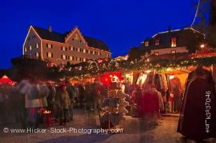Stock photo of night lights at the Christmas Markets at the Hexenagger Castle, Hexenagger, Bavaria, Germany, Europe.