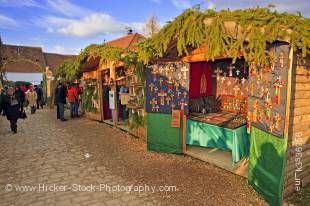 Stock photo of market stalls at the Christmas Markets at the Hexenagger Castle, Hexenagger, Bavaria, Germany, Europe.