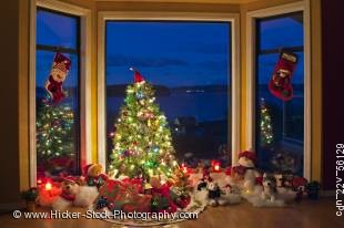 Stock photo of a Christmas scene with tree, lights and decorations in a window at dusk, The Artists Point, Hyde Creek, Port McNeill, Northern Vancouver Island, Vancouver Island, British Columbia, Canada.