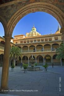 Stock photo of the Dome of the Basilica San Juan de Dios (church) seen from the courtyard of the Hospital Universitario Virgen de las Nieves - Hospital San Juan de Dios (San Juan de Dios Hospital), City of Granada, Province of Granada, Andalusia (Andaluci