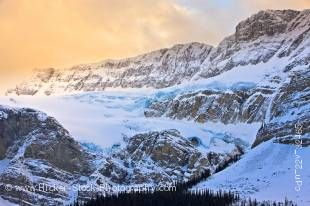 Stock photo of the Crowfoot Glacier as seen from along the Icefields Parkway in Banff National Park in the Canadian Rocky Mountains in Alberta, Canada.