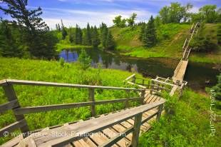 Stock photo of the Devils Punch Bowl from above on a platform of the wooden stairs in the Spirit Sands, Spruce Woods Provincial Park, Manitoba, Canada.
