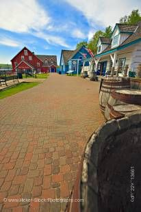 Stock photo of the entrance and walkway to Discovery Harbour and King's Wharf on the shores of Penetanguishene Bay in the town of Midland, Ontario, Canada.