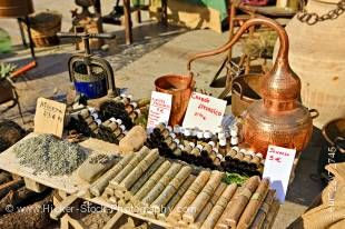Stock photo of distillery at a market stall in Plaza de la Corredera, City of Cordoba, UNESCO World Heritage Site, Province of Cordoba, Andalusia (Andalucia), Spain, Europe.