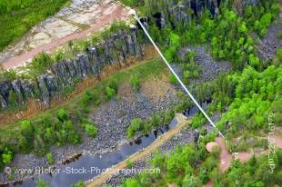 Stock photo of a foot suspension bridge that spans Eagle Canyon in Ontario, Canada. At 182 metres long, this bridge is said to be the longest suspension bridge in Canada.