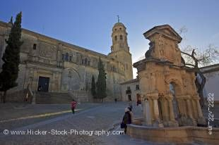 Stock photo of Fuente de Santa Maria (fountain) and the Cathedral of Baeza in Plaza Santa Maria, Town of Baeza - a UNESCO World Heritage Site, Province of Jaen, Andalusia (Andalucia), Spain, Europe.