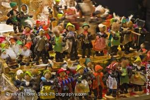 Stock photo of display of man like figures made of fruit and nuts at the Christkindlmarkt (Christmas Market) at the Ršmerberg (City Hall Square) in the City of Frankfurt am Main, Hessen, Germany, Europe.