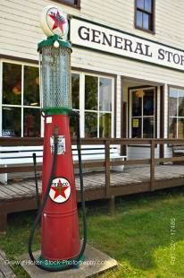Stock photo of old fashioned gas pump outside the General Store in the Mennonite Heritage Village in Steinbach, Manitoba, Canada.