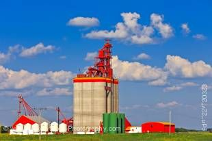 Stock photo of a large grain elevator near the town of Southey in the Qu'Appelle Valley, Saskatchewan, Canada.