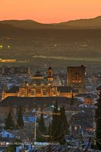 Stock photo of Granada Cathedral, 16th century, at dusk in the City of Granada, Province of Granada, Andalusia (Andalucia), Spain, Europe.
