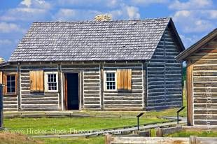 Stock photo of log cabins at the Last Mountain House Provincial Park, Saskatchewan, Canada.