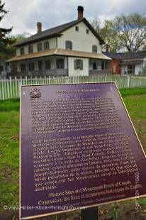 Stock photo of an information sign at the The Joseph Schneider Haus, a National Historic Site of Canada, in the city of Kitchener,Ontario, Canada.