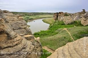 Stock photo of a raft on Milk River seen from the Hoodoos along the Hoodoos Interpretive Trail in Writing on Stone Provincial Park, Southern Alberta, Alberta, Canada.