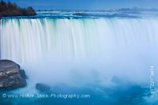Stock photo of Horseshoe Falls at dusk on he Niagara River at Niagara Falls in Ontario, Canada.