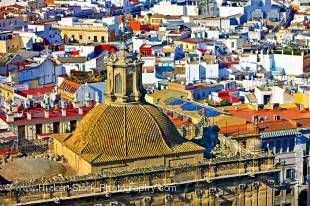 Stock photo of the details of the dome of Iglesia del Sagrario church in the grounds of the Seville Cathedral, and a view of the city from La Giralda, a UNESCO World Heritage Site, City of Sevilla, Province of Sevilla, Andalusia, Spain.