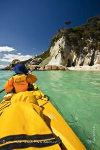 Stock photo of Arches at Arch Point seen during a Kayaking day trip, Abel Tasman National Park, Tasman District, South Island, New Zealand.
