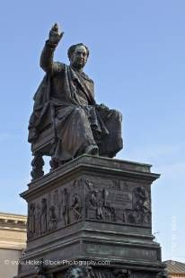 Stock photo of statue/monument to King Maximilian 1st of Bavaria in Max-Joseph-Platz outside the Nationaltheater MŸnchen (National Theatre Munich), City of MŸnchen (Munich), Bavaria, Germany, Europe.
