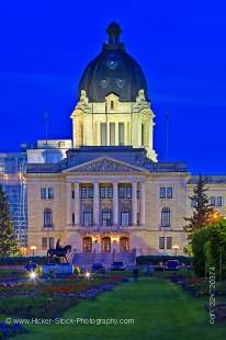Stock photo of Legislative Building at dusk with a few lights to show its attractive details in the City of Regina, Saskatchewan, Canada.