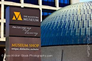 Stock photo of sign outside the Manitoba Museum in the city of Winnipeg, Manitoba, Canada.