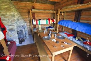 Stock photo of the historic interior quarters of the Married Men, at the Last Mountain House, Provincial Park, Saskatchewan, Canada.
